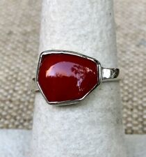 Silver Overlay Ring Size 7 Barse Red Howlite Abstract Cut