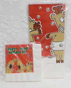 NEW VTG HALLMARK CHRISTMAS PARTY YOUR ANTLERS OFF 54 x 102 TABLE COVER & NAPKINS