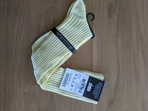 Pantherella yellow cotton l'isle knee high Socks new