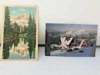 Vintage Mt.Pilchuck Mt.Rainier VW Bus Snow Chalet Old Car Mountain Postcard 4x6