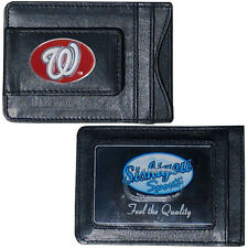 Washington Nationals Fine Leather Money Clip Wallet (NEW) DC Black MLB Billfold