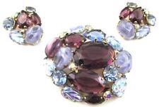Vintage HATTIE CARNEGIE Purple & Blue Rhinestone ART GLASS Brooch Earrings SET