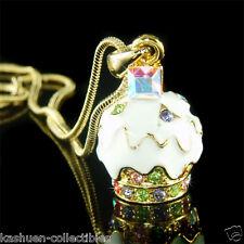 w Swarovski Crystal 3D Cute White Cream Vanilla CUPCAKE Charm Pendant Necklace