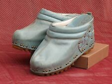CUOIO ITALIA Women's Vintage Leather Mules 6M Wedge Heel Baby Blue Fabulous