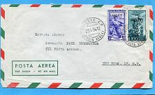 1954 TRIESTE LAVORO £.20 + P.AEREA CAMPIDOGLIO £.100 x NEW YORK (218655)