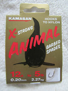 1 x PACK OF KAMASAN X-STRONG ANIMAL HOOKS TO NYLON BARBED