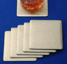 Coasters - Set of 6 Square Stainless Steel Coasters