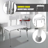 Adjustable Height Shower Chair Bath Tub Bench Stool Seat with Armrest Backrest