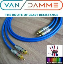 2m Pair - Van Damme RCA Phono Cables - Pro Grade Silver Plated Pure OFC Blue