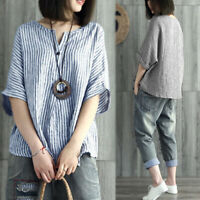 UK 8-24 Womens Autumn Striped Batwing Sleeve Casual Loose Tops Shirt Blouse Plus