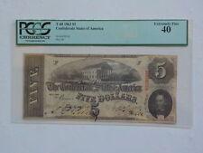 Civil War Confederate 1863 5 Dollar Bill PCGS Richmond Virginia Paper Money CSA