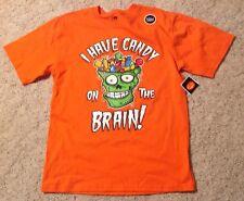 T-shirt Boys Sz 18 XXL Skull Candy On the Brain Orange Glow in Dark Halloween