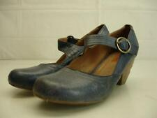 MIZ MOOZ Elroy Mary Jane Dress Shoes Pump Cuban Heels Blue Leather Womens 8.5 M