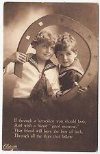 * RAPHAEL TUCK - Lucky Sailor Carbonette #4854 - Through A Horseshoe c1910s era