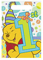 WINNIE THE POOH 1st BIRTHDAY FAVOR BAGS (8) ~ First Party Supplies Unisex Loot