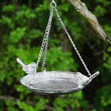 Hanging Steel Bird Bath Wild Garden Bird Feeder Rustic Outdoor Decor Ornament