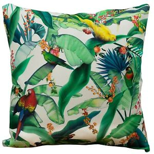 """Tropical Jungle Parrot Cushion. Exotic leaves & birds of paradise. 17x17"""" Cotton"""