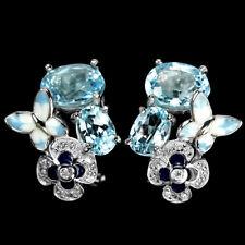Ohrringe Schmetterling Blautopas Sky Blue & CZ 925 Silber 585 weißvergoldet