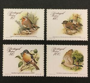 Birds MNH Set of 4 Stamps 1998 Madeira #123-6 Robin Sparrow Finch Sparrowhawk