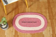 Handmade Front Door Mat Large Outdoor Indoor Entrance Doormat Oval Jute Rug Pink