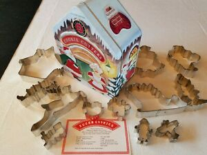 Santas Cookie Workshop Williams Sonoma 12 Cookie Cutters Decorative Tin recipe