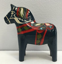 "Vintage G.A. Olsson Folk Art 4"" Swedish Carved Wood Handmade Blue DALA Horse"