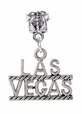 Oversized Las Vegas Word Casino Gambling Trip Dangle Charm for European Bracelet