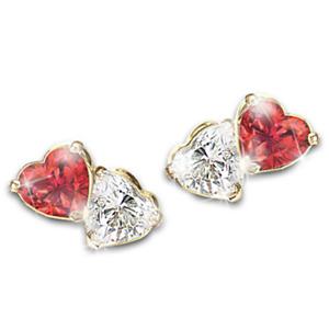 Fashion Heart Cubic Zirconia 925 Silver Stud Earrings Women Jewelry Gifts A Pair