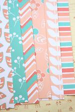 Peach Aqua Spring Flowers fancy cardstock 250gsm floral chevron scrapbook paper