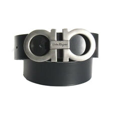 B-505132 New Salvatore Ferragamo Black Leather Logo Buckle Belt Size 32 Fits 30