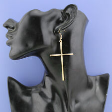 Old Gold Bronze Vintage Look Cross Religion Hook Drop Earrings UK Seller