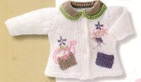 Baby Cardigan Flower Garden Motif Patch Pockets  Aran 0 -4 yrs  Knitting Pattern