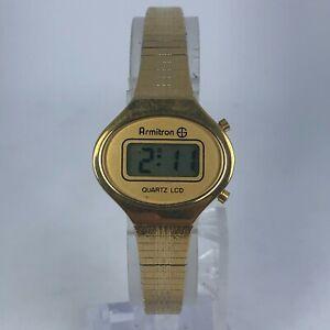 Vintage Armitron Womens 45-6512 LCD Gold tone Band Digital Quartz watch