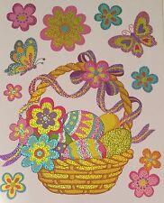 Easter Basket Eggs Butterflies Flowers Glitter Window Clings