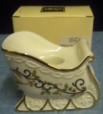 Mikasa Fine China Holly Sleigh Candle Holder Candlestick Holds 1 Taper Orig Box
