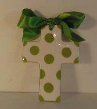 Clay Chick Ceramics Kelly Green Polka Dot Cross with Ribbon Bow New