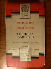 ORDNANCE SURVEY ONE-INCH MAP OF GREAT BRITAIN TAUNTON & REGIS CLOTH 1960