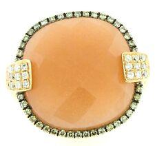 14K Rose Gold Womens Peach Moon Checkerboard White & Champagne Diamonds Ring 6.5