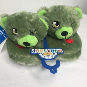 Build a Bear BABW Slippers Green Zombie Monster Kids Size L Large 1-2 Halloween