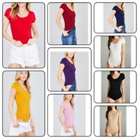 WOMAN  SOFT BASIC SCOOP NECK COTTON SPANDEX SHORT SLEEVE BODYSUIT  TOP (S-L)