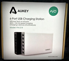 Aukey - White Usb Charger With 6-Port Usb Charging Station 50W 10A