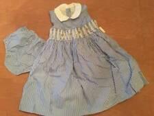 NWT Ralph Lauren Baby Girl Blue Striped Smocked Dress Sz 24 Months