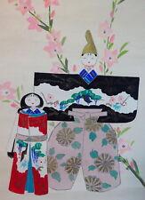 Japanese Old S nihonga ou peinture traditionnelles de Hinamatsuri 雛祭り poupées parchemin
