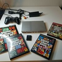 Sony CPH-77001 PlayStation 2 Slim Console GTA Bundle Grand Theft Auto TESTED PS1