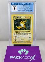 🔥 1999 Pokemon Base Set SHADOWLESS RAICHU HOLO #14 - CGC 7 Near Mint 🔥