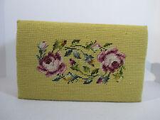 "Footstool Needlepoint Ottoman Flower Wool Wood Frame Hand Sewn Stepstool 8"" Tall"