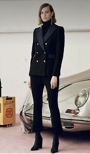 "CAMILLA AND MARC ""claudel"" black blazer with ink trim and gold buttons - size 8"