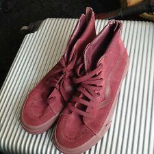 Vans Alta Top Rojo Borgoña Marrón Size Uk 8 Para hombres Zapatos Mujer Unisex