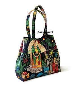 Indian Frida Kahlo Print Handbag New Shoulder Strap Cotton Market Bag For US