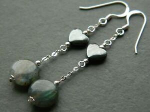Grey Labradorite Coin Gemstones, Hematite Hearts & 925 Sterling Silver Earrings